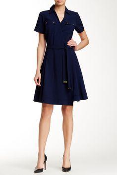 Sharagano Short Sleeve Wrapped Shirt Dress