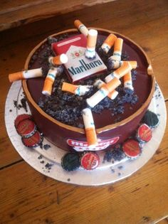 Cigarette ashtray cake for chain smoker www.showstoppersdecorations.co.uk