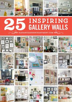 25 inspiring gallery walls from Elegance & Enchantment. Decor and art ideas for a home office, living room, dining room, kids room/nursery, or hallway!