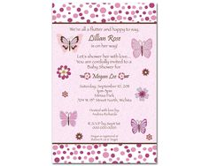baby girl shower christian invitations | NoJo Emily Butterfly Digital Girl Baby Shower Invitation - You Print ...