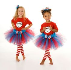 Tutu Skirt - Halloween or Birthday Costume - Red Turquoise - Thing 1 & Thing 2 Set - 12 Month to 2 Toddler Girl. $60.00, via Etsy.