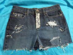 DKNY Soho Cut Off Jean / Denim Shorts - Embellished Size 4 #DKNYSoho #Denim