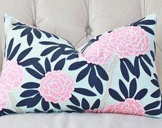 Caitlin Wilson Pillow - Aqua and Navy Pillow Cover - Floral Pink Pillow - Blue Pink Chinoise Pillow - Modern Home Decor - Motif Pillows
