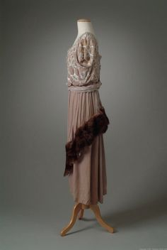 Evening gown (image 3) | Harry Collins | United States; New York | 1919 | silk, mink, bugle beads | Oakland University Meadow Brook Hall | Object #: 01_01_19