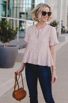 Striped Peplum Top - Straight A Style Peplum Top Outfits, Casual Outfits, Striped Top Outfit, Peplum Tops, Casual Tops For Women, Blouses For Women, Summer Blouses, Blouse Designs, Fashion Dresses