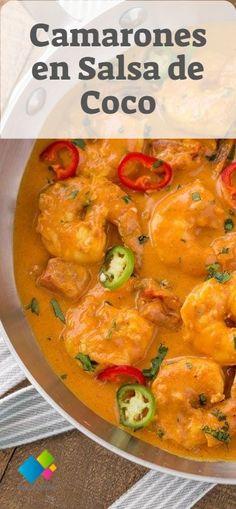 Camarones en Salsa de Coco - Atıştırmalıklar - Las recetas más prácticas y fáciles Shrimp Recipes For Dinner, Seafood Recipes, Sloppy Joe, Easy Cooking, Cooking Recipes, Healthy Recipes, Bolognese, Coconut Sauce, Good Food