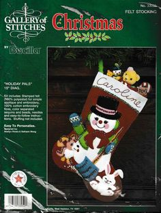 "Bucilla+Christmas+Felt+Stockings+33050+Holiday+Pals+15""+Unused+Unopened+Kit+Snowman Felt Stocking, Christmas Stocking Stuffers, Christmas Stockings, Long Skirt And Top, Kwik Sew, Mccalls Sewing Patterns, Christmas Store, Craft Kits, Hand Embroidery"