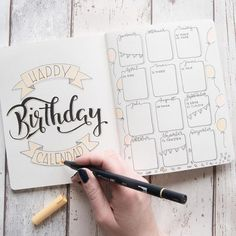 Happy Birthday Calendar - Lettering by jane_carrot for the Letter Lovers - Schreibideen - Bullet Journal School, Bullet Journal Inspo, Bullet Journal Birthday Tracker, Bullet Journal Cover Page, Bullet Journal Notebook, Bullet Journal Aesthetic, Bullet Journal Spread, Bullet Journal Layout, Journal Pages
