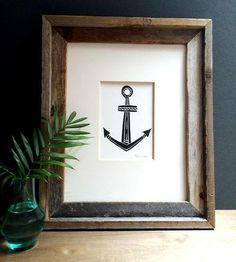 Anchor Linocut Art Print by Printwork on Scoutmob Shoppe Creative Industries, Poster Prints, Art Prints, Nautical Theme, Inspired Homes, Printmaking, Screen Printing, Diy And Crafts, Print Patterns