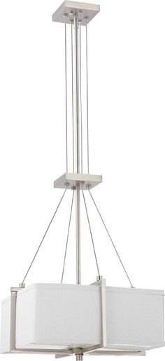 Nuvo Lighting 60-4506 Logan Collection Two Light Hanging Pendant Chandelier in Brushed Nickel Finish