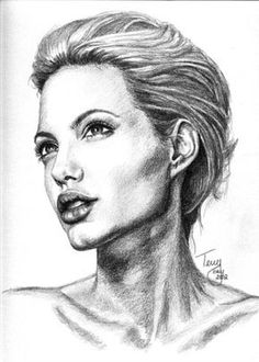 Angelina_Jolie_by_TerryXart (American Pencil She Artist) # Celebrity Pencil Drawing Art