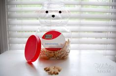 reuse food containers crafts | We already had a huge container at home for animal crackers and I knew ...