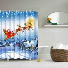 Thicken Waterproof Polyester 3D Christmas Santa Shower Curtain