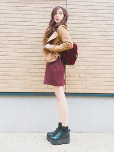 今日の私服。ジャケットとスニーカーは最近買ったばかりのアイテムです。ニットワンピは去年買ったんですが