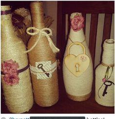 Glass Bottle Decorations Jute Wine Bottles With Burlap Flowers  Burlap