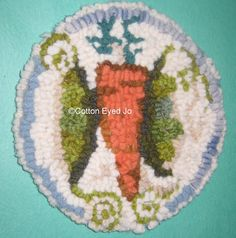 Hand Hooked Wool Mat  Made with Upcycled Wools by cottoneyedjo, $15.00