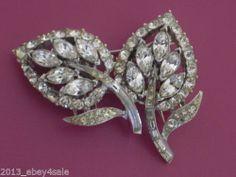 Vintage Signed Coro Duette Floral Flower Rhinestone PIN Detachable Back Clip | eBay