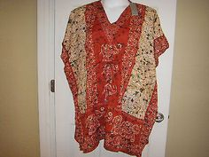 "NWT Ladies V-Neck Tunic ""LaPogee World Over"" Delicate Embroider Plus Size 3X"