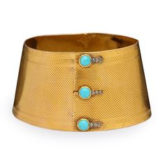 English Turquoise Gold Cuff Bracelet circa 1860 -- turquoise button and buttonhole motif Jewelry Bracelets, Jewelry Watches, Teal, Turquoise, Birthstones, Antique Jewelry, 18k Gold, Women Accessories, Fine Jewelry