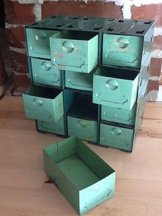 Vintage Metal Tool Box Organizer Industrial Toolbox