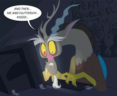 Discord's reaction to reading Bride Of Discord lol XD! I love Fluttercord because they just look so adorable together
