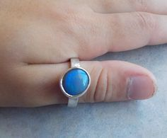 Solid Opal  Ring Showing Beautiful Swirling by AllAussieOpals