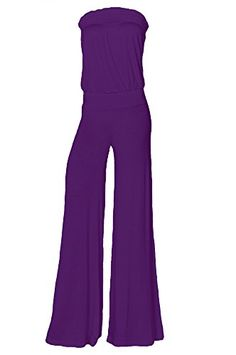 Womens Fashion Strapless Wide Leg Smocked Tube Casual Jumpsuit USA EGP 2XL *** Find out more details @