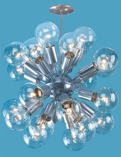 Sputnik Pendant 24 Light Fixture with bulbs $1000 with bulbs in plated finish, could also be in painted finish for less cost.
