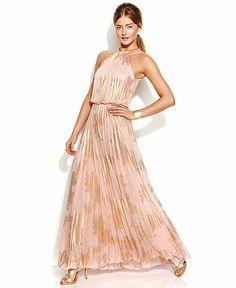 Xscape Metallic-Print Halter Gown - Juniors Prom Dresses - Macy's
