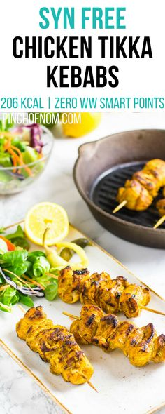Syn Free Chicken Tikka Kebabs | Pinch Of Nom Slimming World Recipes 206 kcal | Syn Free | Zero Weight Watchers Smart Points