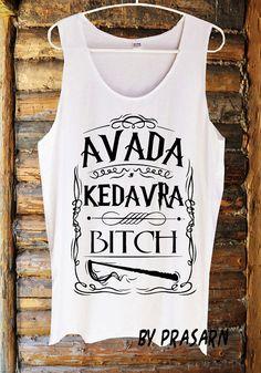 Avada Kedavra Harry Potter Magic Fashion Custom Handmade Tank Top Screen Print Funny White Clothing Womens Tee T Shirts Tshirts Shirt S M L on Etsy, £9.04