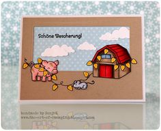 "(ungewöhnliche) WEihnachtskarte - (unusual) Christmas card | Lawn Fawn ""Critters on the Farm"", ""Trim the Tree"", Copics"
