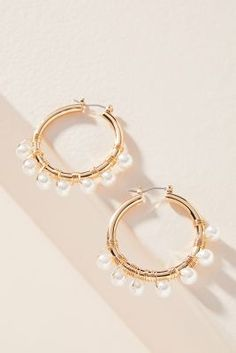 Romy Huggie Hoop Earrings by Anthropologie in White Size: All, Jewelry Small Gold Hoops, Small Gold Hoop Earrings, Gold Bar Earrings, 14k Gold Necklace, Sapphire Earrings, Cluster Earrings, Crystal Earrings, Dangle Earrings, Pendant Necklace