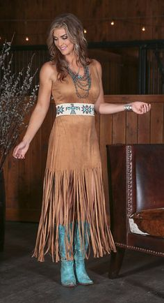 Wrangler Premium suede long fringe dress