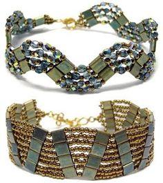 Around The Beading Table: New pattern uploaded: Tila Curve Bracelets