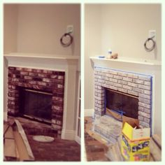 Before and After. I white-washed my red brick fireplace and what a difference it made!!!