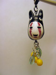 Polymer clay Chubby Studio Ghibli black Totoro combined with No Face pendant/charm by AnniCrafting on Etsy