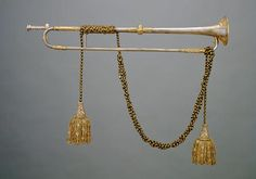 Naturtrompete, Michael Leichamschneider | 1741 At first exclusively the symbol of rulers, the trumpet eventually came to be used for court ceremonies and in the military, where even today it is used for fanfares. The blaring sound & the precious metals of silver and gold were especially well suited to express the splendour of the imperial court. Empress Maria Theresa purchased 6 silver trumpets for the Hofmusikkapelle (Imperial Music Chapel), where they were used until the end of the 19thC.