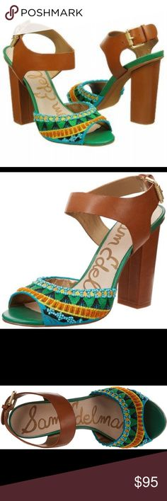 8e6f49401a81 Sam Edelman RARE Green Canvas Ankle Strap 7.5 shoe Sam Edelman shoes are  made of exceptional