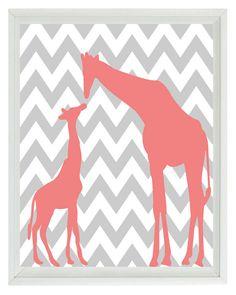 Giraffe Chevron Nursery Wall Art Print - Pink Gray  Decor Parent Child - Children Kid Baby - Wall Art Home Decor 8x10 Print. $15.00, via Etsy.