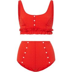 Lisa Marie Fernandez Colby Ruffle High Waist Bikini Set ($420) ❤ liked on Polyvore featuring swimwear, bikinis, red, red bikini, red ruffle bikini, high rise bikini swimwear, high waisted bikini swimwear and frill bikini