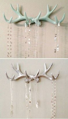 23 Diy Decoration Ideas Using Antler, choice is endless - Diy & Decor Selections Antlers are w Deer Antler Crafts, Antler Art, Deer Antler Jewelry, Antler Jewelry Holder, Deer Skull Decor, Deer Antlers Decor, Deer Antler Decorations, Jewelry Hanger, Jewelry Accessories
