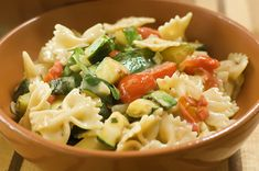 farfalle-with-zucchini-a-yummy-summer-meal    The Cast of Characters: Zucchini, Onion, Garlic, Grape (or Cherry) Tomatoes, Olive Oil, White Wine (or Chicken Broth), Farfalle (Bowtie Pasta), Cream, Parmesan Cheese, and Arrowroot!
