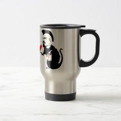 Socialist Rat Travel Mug - travel mugs gift idea custom diy unique