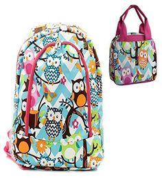 Owl Print Blue Chevron Pink Trim Backpack W Matching Lunch Bag - Handbags, Bling & More!