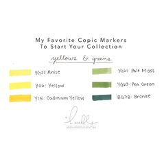 H. Nichols Illustration- Holly's Favorite Copic Colors, Yellows and Greens