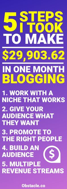 Want to make money blogging? Here are the 5 steps that I always follow that allow me to make over $30,000 a month with blogging.
