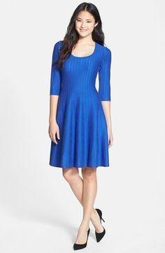 NIC+ZOE 'Twirl' Elbow Sleeve Knit Fit & Flare Dress (Regular & Petite) Ultramarine Small on Vein - getVein.com/download