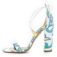 Aquazzura Lily Sandals ($263) ❤ liked on Polyvore featuring shoes, sandals, heels, laced sandals, lace up sandals, chunky lace up sandals, aquazzura sandals and chunky heel shoes