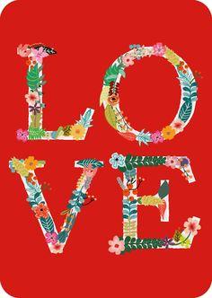 """Postkaart LOVE Postkaart """" Love"""" van Studio Inktvis.Stuur deze vintage look postkaart op ofhang hem in je interieur met of zonder lijstje. [ssba]..."""